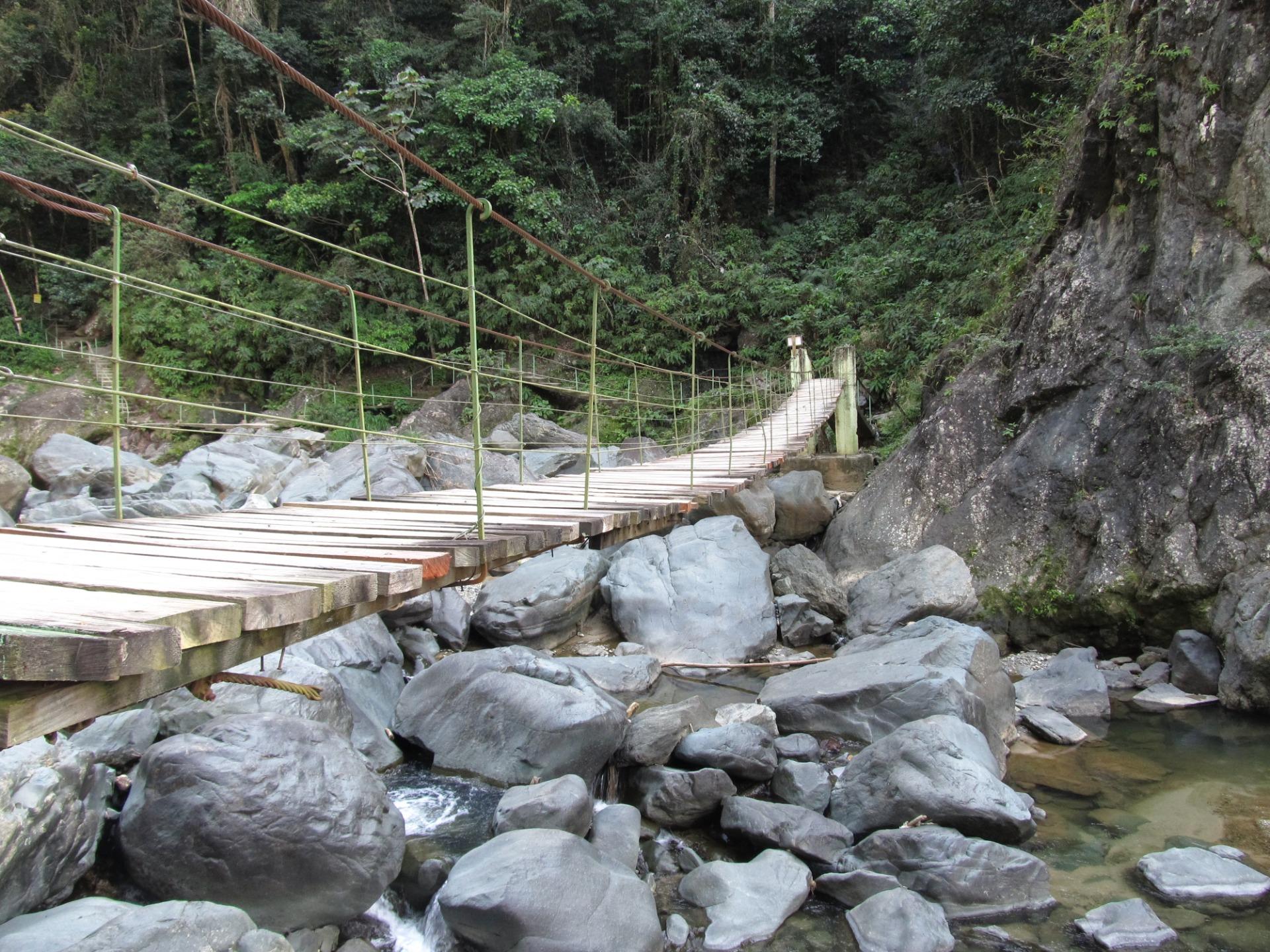 Droga prowadzi przez szereg wiszących mostków